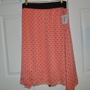"NWT LuLaroe Skirt 2X ""Lola"" Orange w/ Black Dots"